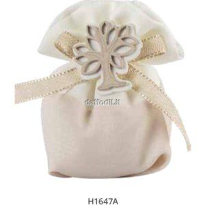 Sacchetto confetti nozze Harmony sacchetto cotone bicolore bianco/crema con albero vita