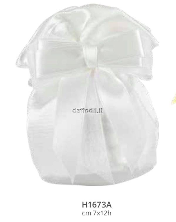 Sacchetto confetti Harmony sacchetto pochette in raso bianco con tiranti