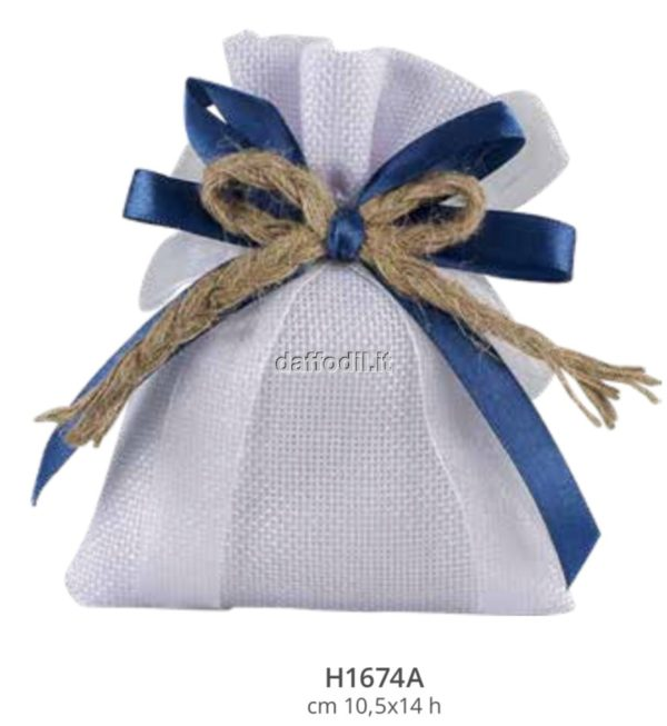 Sacchetto confetti nozze Harmony sacchetto Juta bianco nastri blu cordoncino