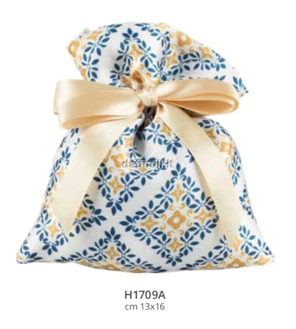 Sacchetto confetti nozze Harmony sacchetto in raso con tiranti decoro Maioliche