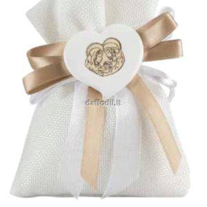 Sacchetto confetti in tessuto comunione cresima Harmony gessetto cuore Sacra Famiglia