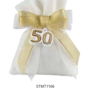Harmony juta bianco con tirante applicazione gessetto 50° anniversario