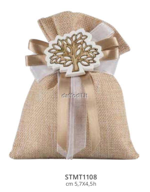 Harmony sacchetto Juta brown con gessetto cuore