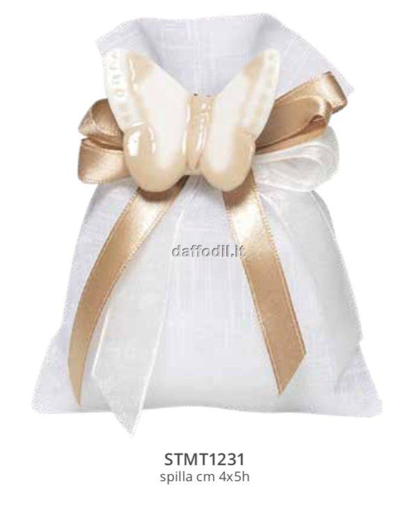 Harmony sacchetto tipo lino bianco applicazione farfalla porcellana
