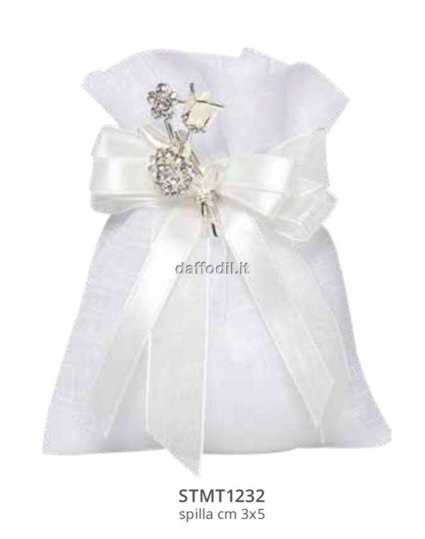 Harmony sacchetto tipo lino bianco spilla tralcio fiore