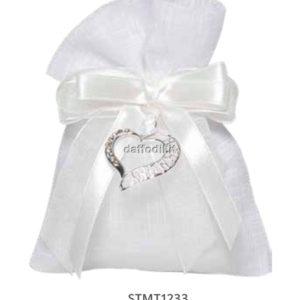 Harmony sacchetto tipo lino bianco pendente cuore Harmony in metallo