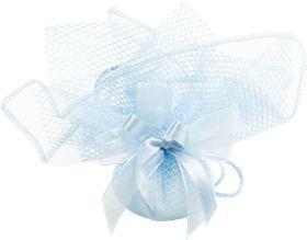 Sacchetto confetti nascita battesimo azzurro in tessuto