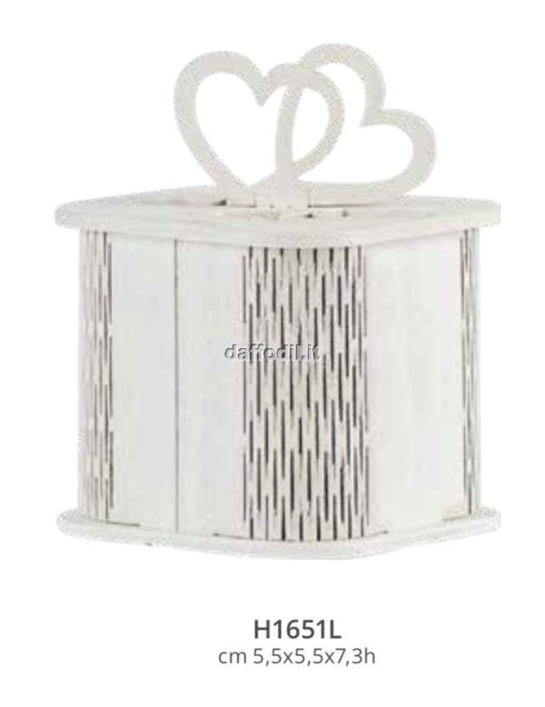Harmony scatola in legno traforata bianca cuori