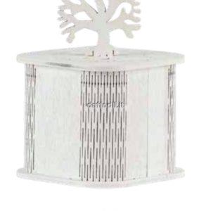 Harmony scatola in legno traforata bianca albero della vita