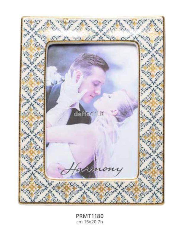 Harmony Portafoto in porcellana trama maiolica