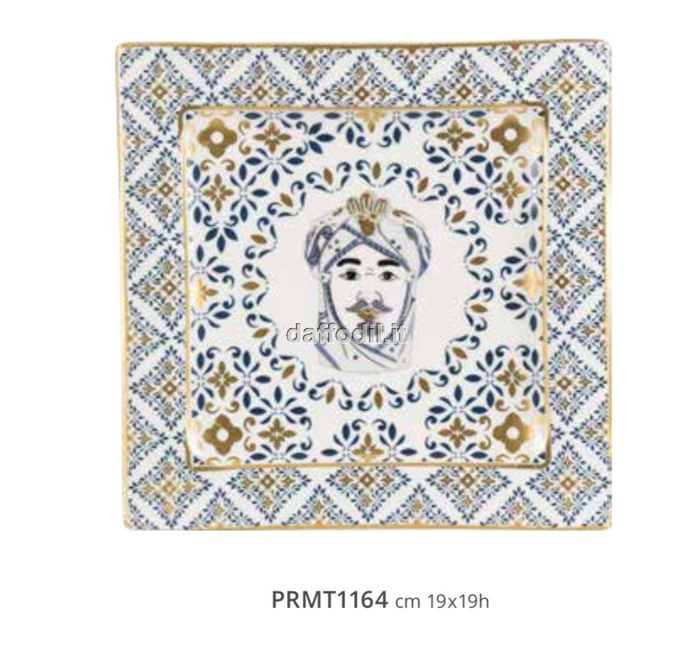 Harmony Piatto in porcellana trama maiolica Moro Re