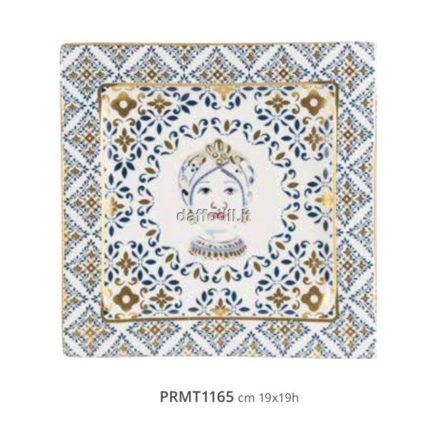 Harmony Piatto in porcellana trama maiolica Mora Regina