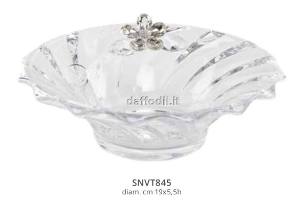 Harmony Coppa vetro rigato con applicazione fiore