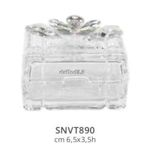 Harmony Scatola quadra in vetro piccola con applicazione fiore