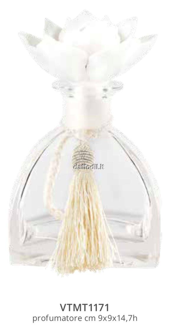 Harmony Bottiglia profumatore grande in vetro con tappo gessetto e nappina