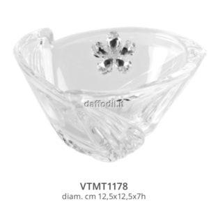 Harmony Coppa svuota tasche vetro elica con applicazione fiore