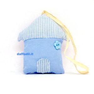 Portaconfetti Casetta in tessuto Azzurra