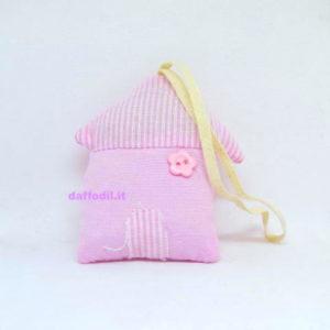 Portaconfetti Casetta in tessuto rosa