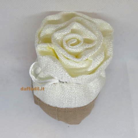 Sacchetto chiusura a Rosa in raso bicolore avorio e tortora