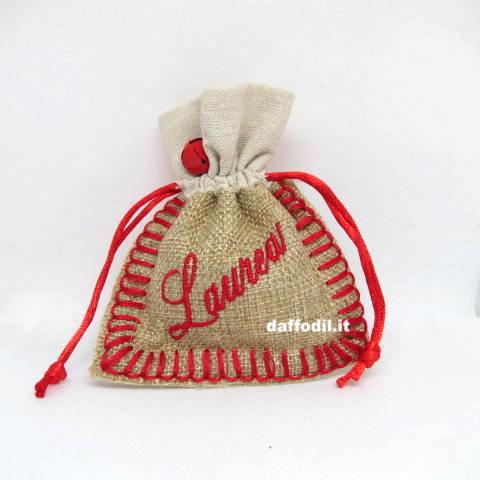 Sacchetto Rosso in Juta con scritta Laurea ricamato