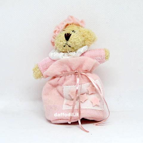 Orsetto con saccoccio porta confetti in tessuto Rosa