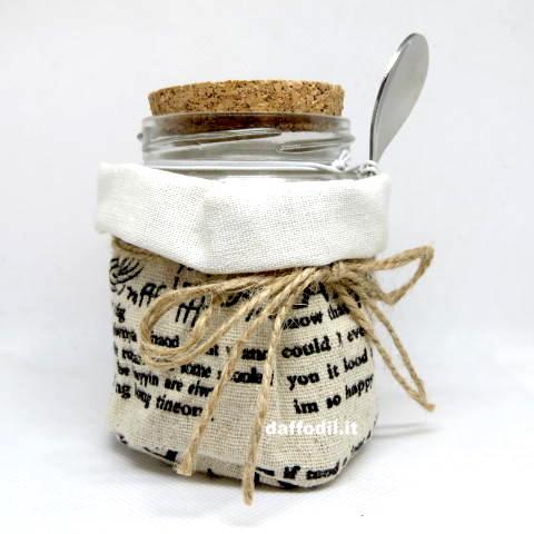Bomboniera Zuccheriera tessuto barattolo vetro