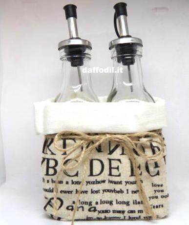 Bomboniera Olio Aceto tessuto barattolo vetro