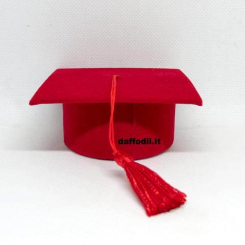 Cappello Tocco portaconfetti velluto rosso