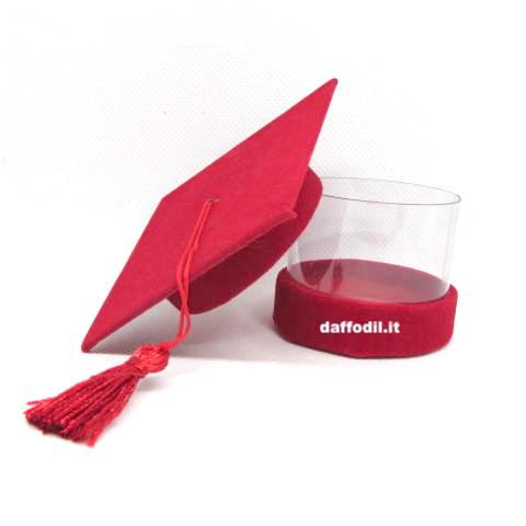 Tocco portaconfetti velluto rosso Pvc trasparente