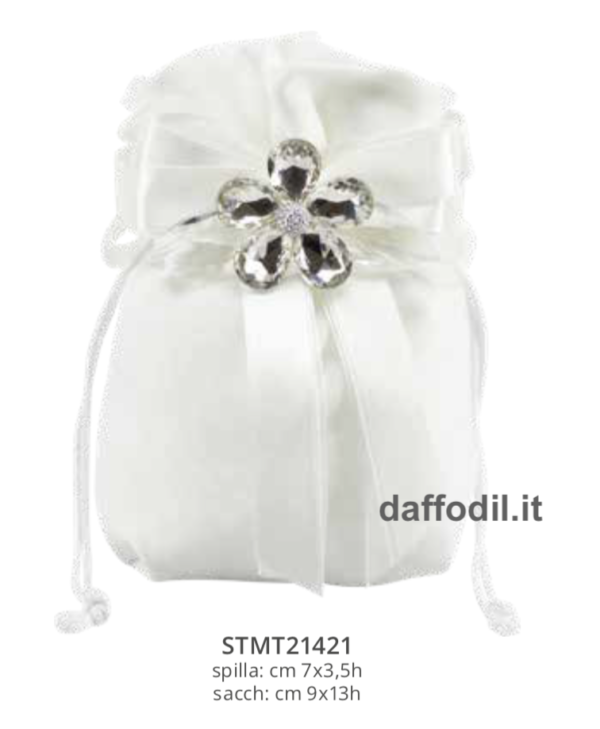 Harmony Sacchetto cotone bianco spilla fiore cristallo