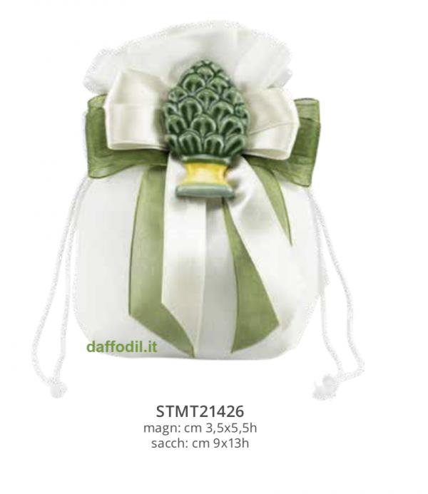Harmony Magnete Pigna verde sacchetto cotone